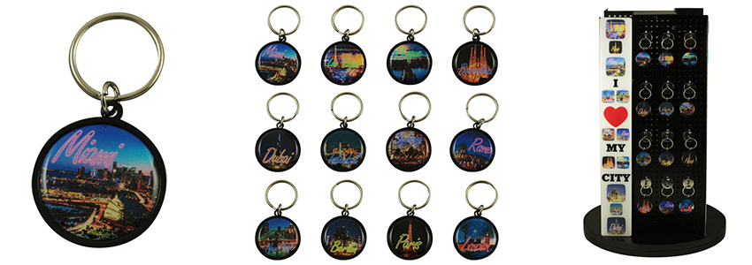 Large round aluminium keychain 31mm doming #PKA201