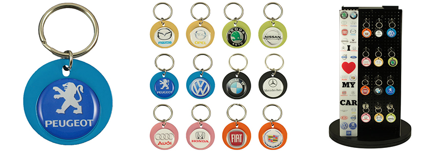 Round aluminium keychain with 26mm doming #PKA202