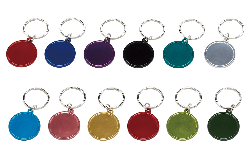 Small round aluminium keychain with 26mm doming