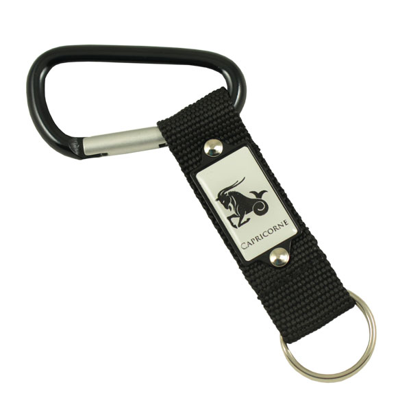 Carabiner with aluminium patch on strap