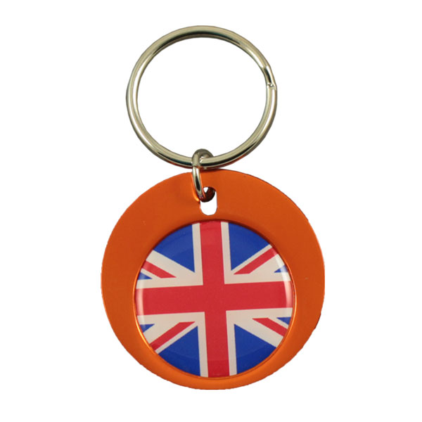 Round aluminium keychain with 26mm doming