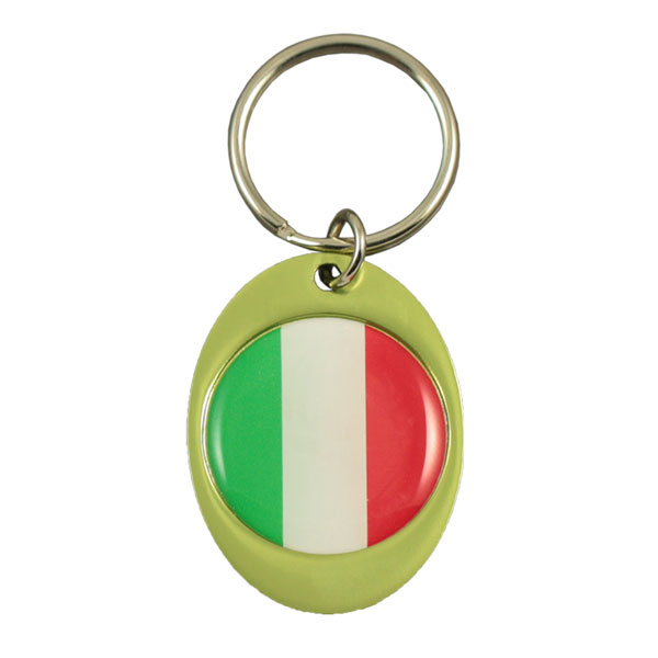 Oval aluminium keychain round doming 26 mm