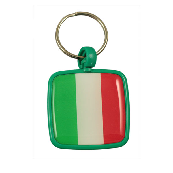Square plastic keychain with doming