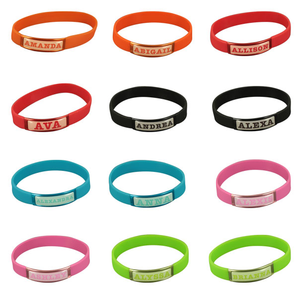 Silicon wristband with aluminium patch