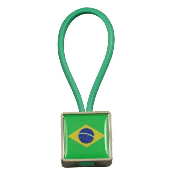 Square zamac rubber loop keychain
