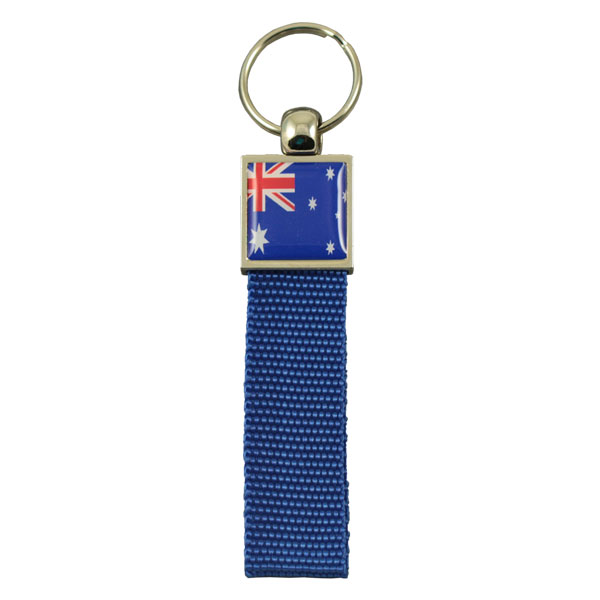Zamac top with webbing strap and doming keychain