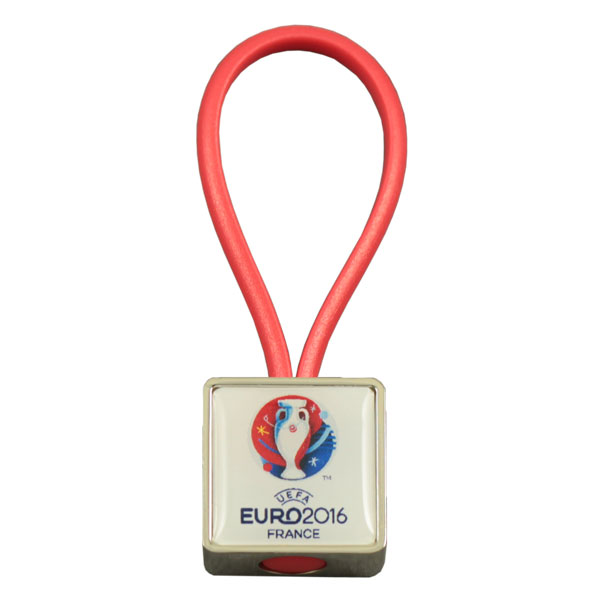 Square zamac rubber loop keychain