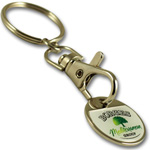 ICKC line: Multi country coin trolley keychain with doming by QCS Asia w13.17