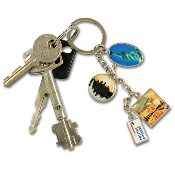 Metal multi charm keychain