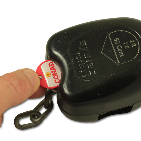 Plastic coin keychain with doming