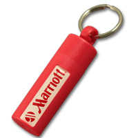 Plastic canister keychain with doming