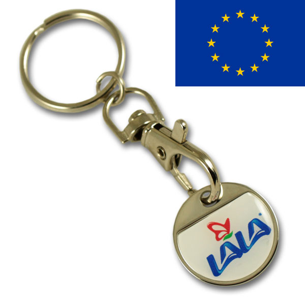 EURO 1.00 iron coin keychain with thin doming