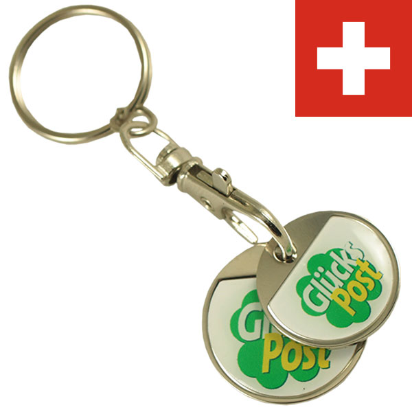 CHF1.00 + CHF2.00 iron coin set keychain with thin doming