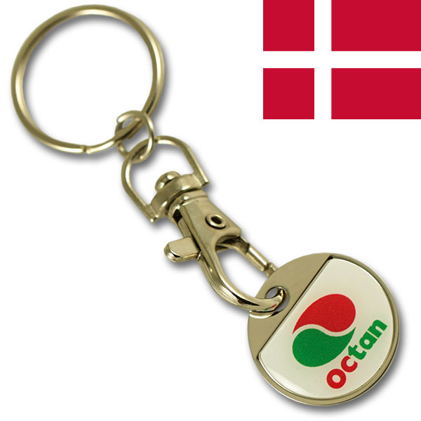 DKK 10.00 iron coin keychain with thin doming
