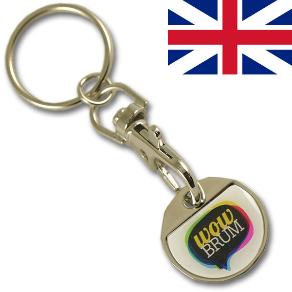 GBP 1.00 iron coin keychain with thin doming