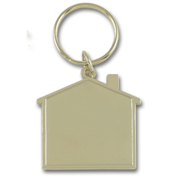 Metal house shape keychain with doming