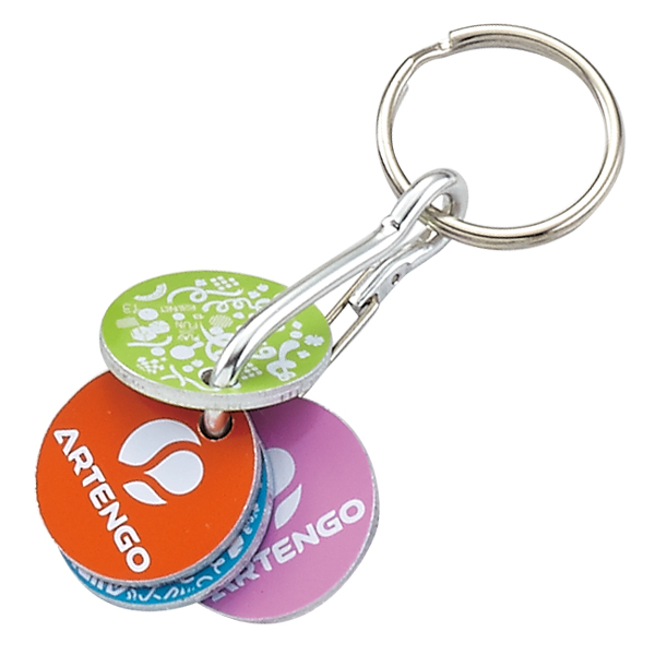 Offset trolley coin keychain