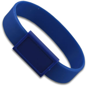 Silicon wristband with large  plastic patch