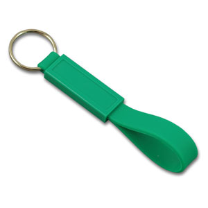 Silicon keychain with thin plastic patch