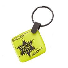 Square double side doming keychain