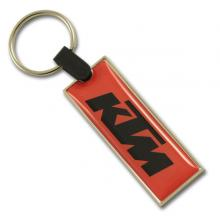 Long rectangle metal keychain with doming