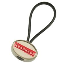 Oval zamac rubber loop keychain
